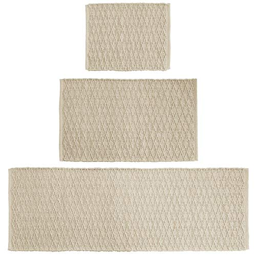 mDesign Soft 100% Cotton Luxury Rectangular Spa Mat Rugs, Water Absorbent, Diamond Design - for Bathroom Vanity, Tub/Shower, Machine Washable - Runner, Standard & Small Rug - Set of 3 - Linen/Tan