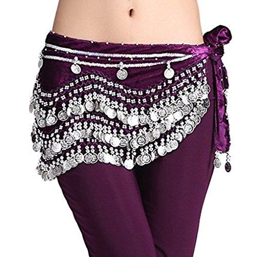 Wuchieal Women's Belly Dancing Belt Colorful Waist Chain Belly Dance Hip Scarf Belt (One Size, Purple-Silver coins)