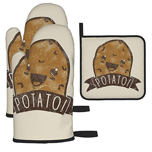 Guanti da Forno Antiscivolo Cotone Cottura Presine Resistenti al Calore Guanti,Patata per Cucina, Cuocere, BBQ, Barbecue, Grill