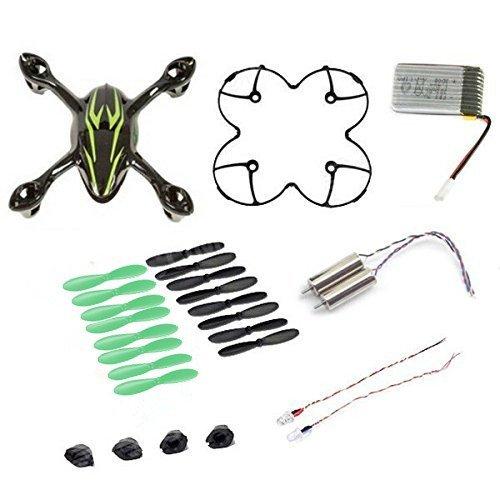 AFUNTA per Hubsan X4 H107C Quadcopter nero / verde Ricambi Crash Pack (One Corpo Shell + One protezione Feet copertura + 4 Rubber + 4 x lame di ricambio Set + La batteria 380mA ricambio + 2 + 2 Motori Led light)