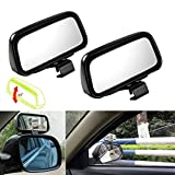 Xotic Tech Blind Spot Mirror, 2 Pcs Black Rectangle Wide Adjustable Angle Convex Clip On Half Oval Rear View Conter Blind Spot Angle Auxiliary Mirrors for Car Truck SUVs Motorcycle