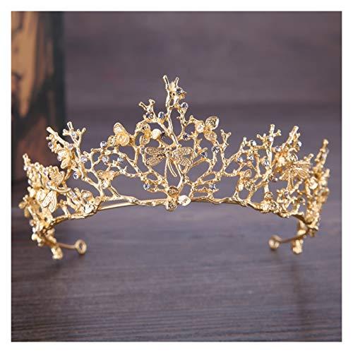 Ownlife Vintage Wedding Crown Butterfly Rhinestone Crown Crown Crown Bodas Accesorios de Cabello Princess Crown Tocado Regalos Hechos a Mano