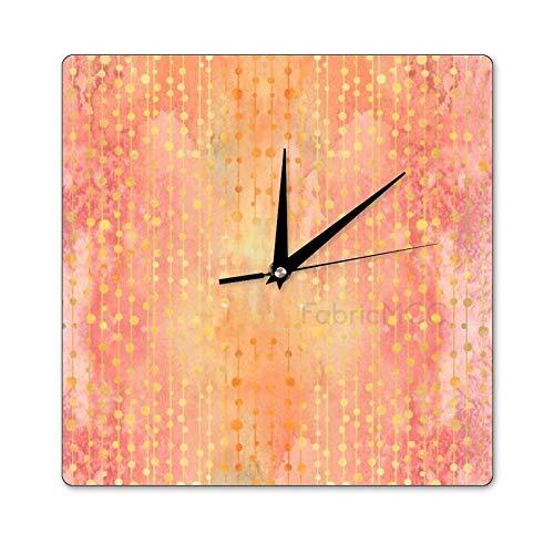 Mari57llis Garden of Dreams Oft - Reloj de madera de color naranja, cuadrado para decoración de pared, no hace garras, reloj de madera, 30,5 x 30,5 cm