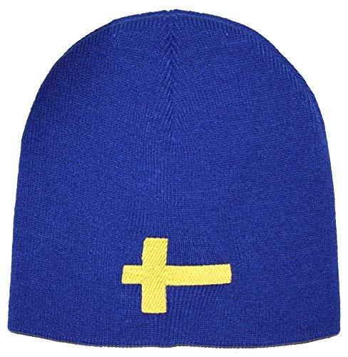 Fan-O-Menal Beanie-Mütze mit Einstickung - SCHWEDEN - Wollmütze Wintermütze Strickmütze - 54598 blau