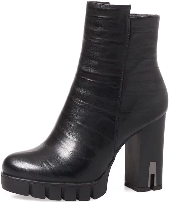 VIMISAOI Women's Round Toe Chunky-Heeled Zipper Leather Ankle Booties