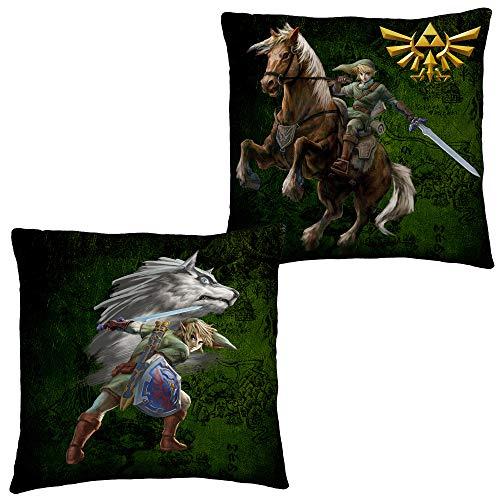 The Legend of Zelda Kissen Fight 40 cm x 40 cm Links Awakening Triforce Twilight Princess Ocarina Hyrule Kopfkissen Dekokissen Schmusekissen Zierkissen Kuschelkissen Polster passend zur Bettwäsche
