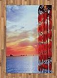 ABAKUHAUS Playa Alfombra de Área, Atrapasueños Ibiza Sunset, Ideal para Sala de Estar o Comedor Resistente a Manchas, 120 x 180 cm, Coral Azul Rojo