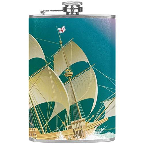 Petaca a prueba de fugas de licor, botella de 7.6 onzas, taza de flagón, cubierta de cuero con vela de vela en el mar, contenedor de bolsillo arcoíris para bebidas discretas de whisky alcohol licor Color4