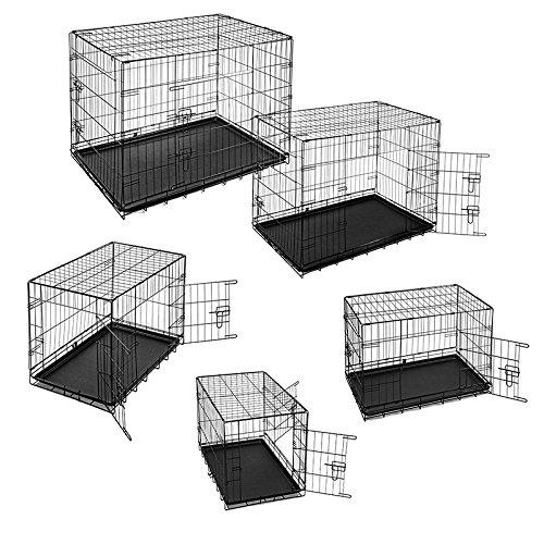 ESTEXO® Hunde-Transportbox, S - XXL, Auto Hundekäfig, Gitterbox, Hundebox faltbar, Reisebox (L)