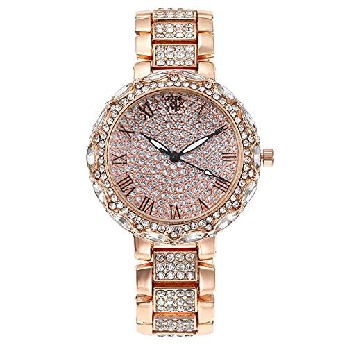Gypsophila - Reloj de pulsera de cuarzo con diamantes de imitación y superficie con números romanos