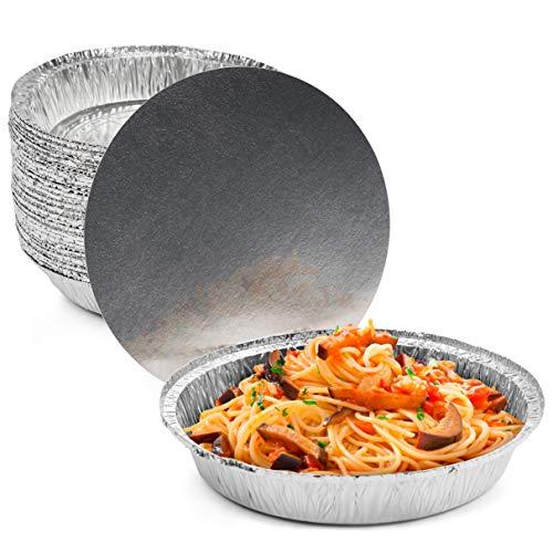 MATANA 40 Bandejas Redondas Desechables de Aluminio con Tapa - 1060ml