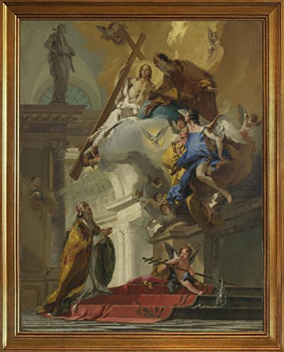 Berkin Arts Classic Framed Giovanni Battista Tiepolo Giclee Canvas Print Paintings Poster Reproduction(A Vision of The Trinity)