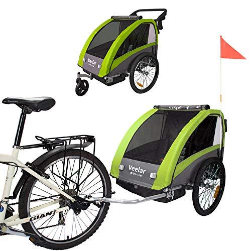Tiggo Remolque de Bici para niños con Kit de Footing - BT603-D02 Verde