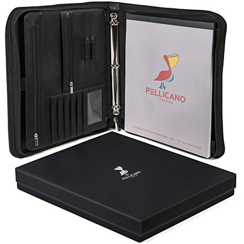 Original PU Leather Portfolio Case w/Writing Pad: Look Professional at Work. Tablet/Boogie Board Pocket, Rings Binder, Organizer, Notebook Holder. Secure Personal & Business Supplies, Folders, Pads