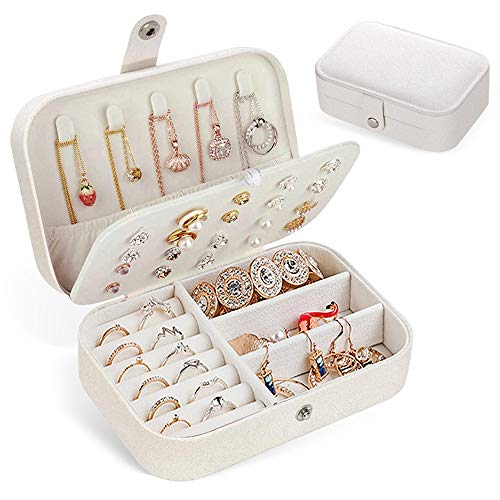 Abdodar Jewelry Box, Portable Travel Jewelry Organizer Box – Best Gift for Women Girl Synthetic Leather Jewelry Storage Case for Ring, Necklace, Earring