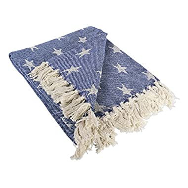 DII Rustic Farmhouse Throw Blanket with Decorative Tassles, Use For Chair, Couch, Bed, Picnic, Camping, Beach, & Just Staying Cozy At Home (50 x 60 ), Star Nautical Blue