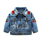 Top and Top Baby Girls Denim Jacket Rose Flower Embroidery Toddler Ripped Denim Coat For Kids (100/18-24 Months)