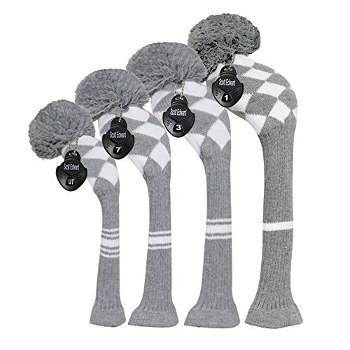 Scott Edward Golf Club Head Covers Set of 4 Grey White Argyles, Acrylic Yarn Double-Layers Knitted, with Rotatable Number Tags