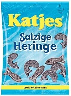 Katjes Salzige Heringe (salty herring shaped licorice) 7.05 ounce, 200 gram (pack of 4)
