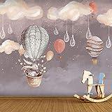 Dibujos Animados Fantasía Globo Aerostático Papel Tapiz Jardín De Infantes Educación Temprana Niño Niña Dormitorio Papel Tapiz Viruela Techo Nube Blanca Revestimiento De Paredes-430Cmx300Cm