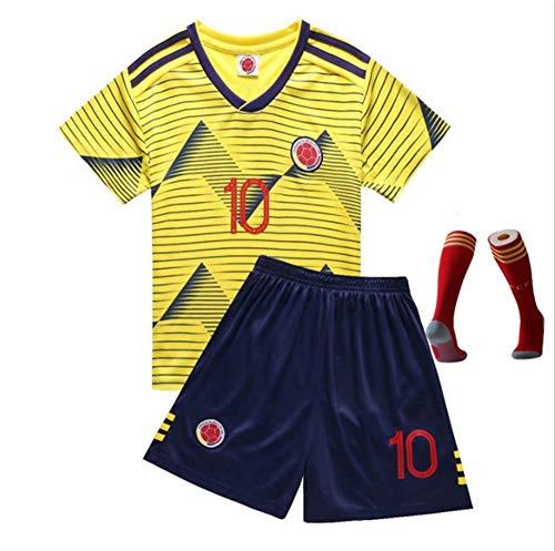 Sudadera de fútbol 19-20S Temporada Colombia Casa NO.10 Jersey Jam es Rodríguez NO.10 Jersey Camiseta para niños Shorts + Calcetines