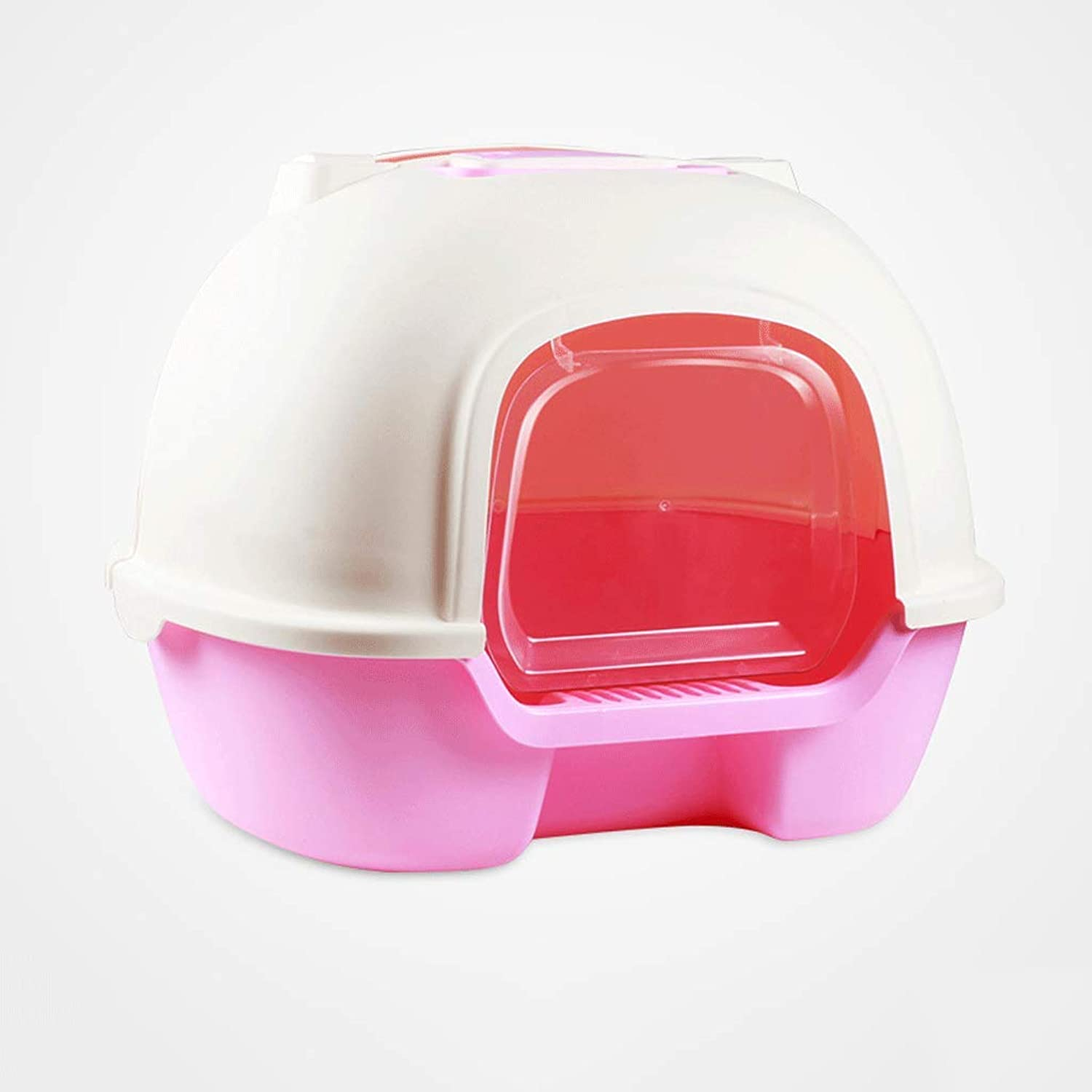 Cat Litter Box Rear Clamshell Pan Fully Enclosed Deodorant AntiSplashing Cat Toilet with Scoop and Handle (color   Pink)