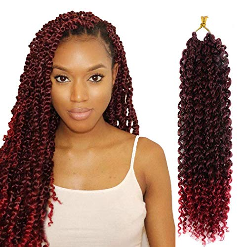 7 Packs Passion Twist Hair 18 Inch Long Water Wave Synthetic Braiding for Black Women with Senegalese Crochet Twist Hair for Passion Twist Crochet Hair Extensions (1B/BUG#)
