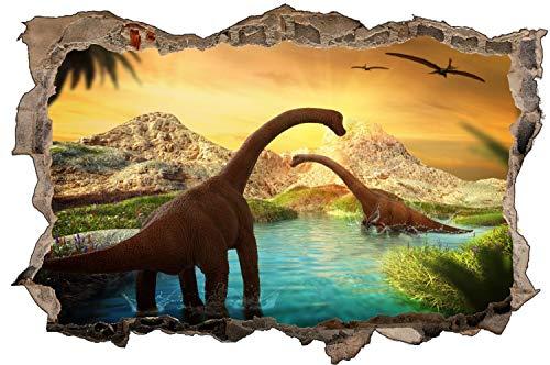 Dinosaurier Langhals Wasser Wandtattoo Wandsticker Wandaufkleber D1753 Größe 70 cm x 110 cm