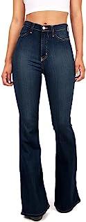 Vibrant Women's Juniors Bell Bottom High Waist Fitted Denim Jeans
