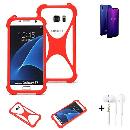 K-S-Trade® Handyhülle + Kopfhörer Für Allview Soul X6 Mini Schutzhülle Bumper Silikon Schutz Hülle Cover Case Silikoncase Silikonbumper TPU Softcase Smartphone, Rot (1x),