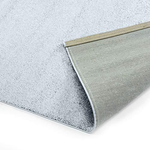 Designer-Teppich Pastell Kollektion | Flauschige Flachflor Teppiche fürs Wohnzimmer, Esszimmer, Schlafzimmer oder Kinderzimmer | Einfarbig, Schadstoffgeprüft (Grau, 150 cm rund)