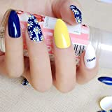 24 Nagelsticker Gelb und Blau mit Gänseblümchen