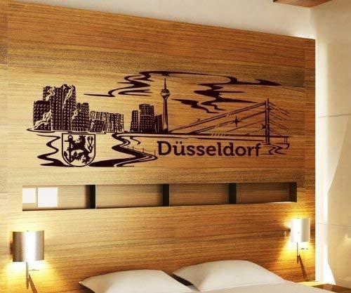 myDruck-Store Wandtattoo Düsseldorf Skyline XXL Tattoo Wand Aufkleber Deutschland Stadt 1M137, Farbe:Schwarz Matt;Breite:120 cm