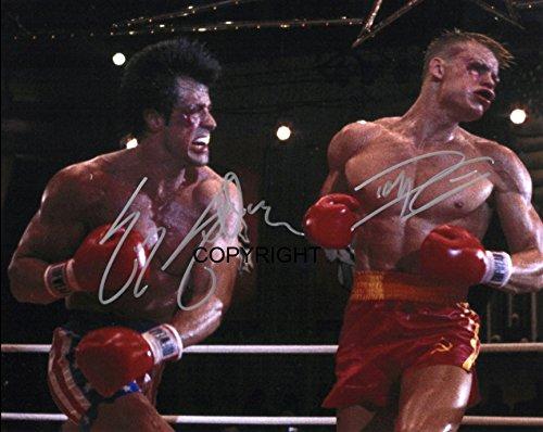 Autogrammkarte, limitierte Auflage, Motiv: Stallone, Dolph Lundgren aus dem Film Rocky, mit Zertifikat