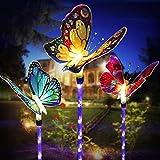 Beleuchtung Außen Solarleuchte Garten, 3 Packung Solar Garten Lampen mit Farbwechsel Optik LED Schmetterling Solar Lichter für den Garten Rasen Terrasse Feld Weg Backyard