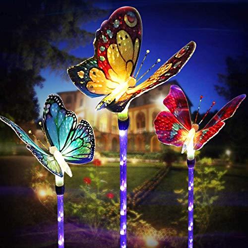 LED Luces Solar Exterior-3 Piezas Luces solares de jardín - cambio de color Fibra óptica Mariposas al aire libre decoraciones Aplicar para Cerca, Patio, Terraza, Patio, Entrada de auto