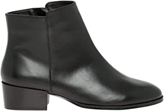 Leather Almond Toe Ankle Boot,40,Black