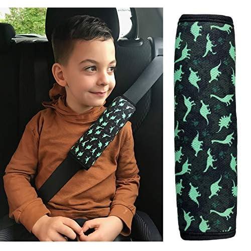 Heckbo, 2 spallacci imbottiti per cintura di sicurezza, da bambino/ragazzo, con dinosauri