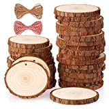 Fuyit Natural Wood Slices 30 Pcs 2.4-2.8 Inches Craft Wood Kit Unfinished Predrilled with Hole Wooden Circles...