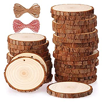 Fuyit Natural Wood Slices 30 Pcs 2.4-2.8 Inches Craft Wood Kit Unfinished Predrilled with Hole Wooden Circles Tree Slices for Arts and Crafts Christmas Ornaments DIY Crafts
