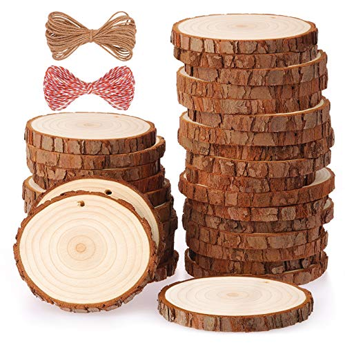 Fuyit Natural Wood Slices 30 Pcs 6-7cm Drilled Hole Unfinished Log Wooden Circles for DIY Crafts Wedding Decorations Christmas Ornaments with Free Gifts