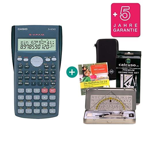 Streberpaket: Casio FX-82MS + Schutztasche + Lern-CD (auf Deutsch) + Geometrie-Set + Erweiterte Garantie
