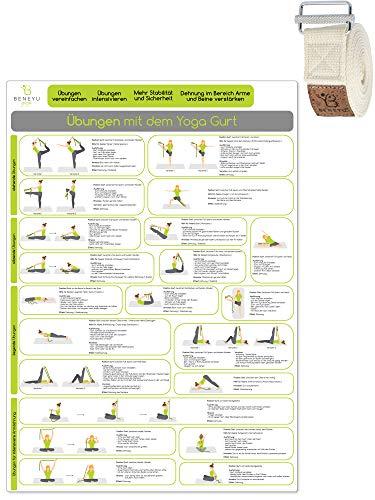 beneyu ® Yoga Poster für Yoga Gurt mit Yoga Asanas in Deutsch, DIN A2 (60x42cm) Klimaneutrale Produktion (auf A4 gefalzt) (gefalten, DIN A2)
