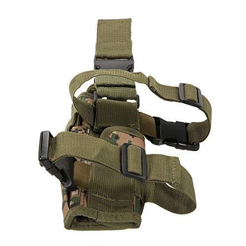 Lixada Équipement de tir de Chasse en Plein air Holster Cuisse Leg Gear Gear Holster Wrap-Around avec Longe de Bobine (Camouflage)