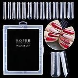 Kalolary 120PCS Unghie Finte Nail System Form Stampo per unghie copertura completa acrilico trasparente Unghie Finte, con scala graduata