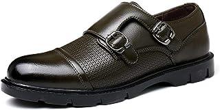 MING-BIN Chaussures Confortables Classique for Hommes Casual Mocassins Double Monk Sangles Slip sur Cuir Microfibre Cap To...