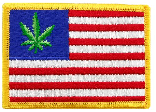 United States of Weed Embroidered Patch Marijuana Pot Leaf American Flag Iron-On