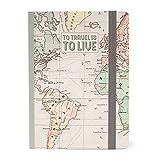 Legami - Notebook, Medium, Medium Photo Notebook, Taccuino a Righe, 12,5x18 cm, 164 Pagine, Taschina Finale, Ultime 24 Pagine Staccabili, Tema Travel, Carta Certificata FSC®, Made in Italy
