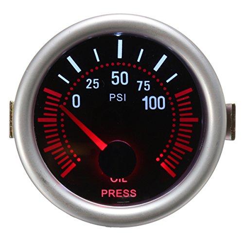 C-FUNN Universal 2 Pulgadas 52Mm Auto Car Led LCD Digital Oil Pressure Meter Gauge Face Black