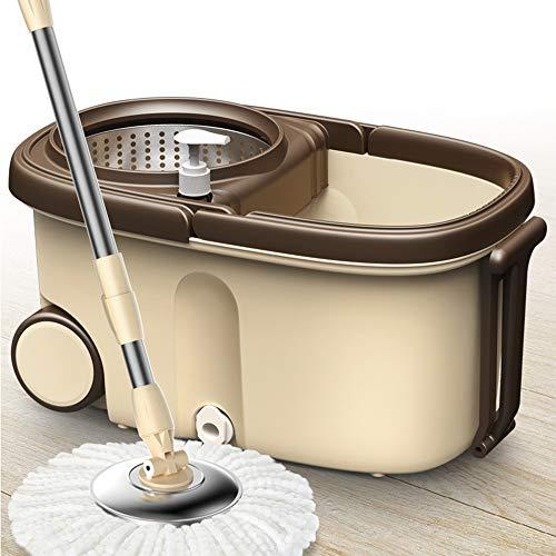 ZWMM wischmopp Spin Mop Bucket Set Mit 5pcs Ersatz Mikrofaser Köpfe Edelstahl Auf Rädern Für Holzboden Reinigung